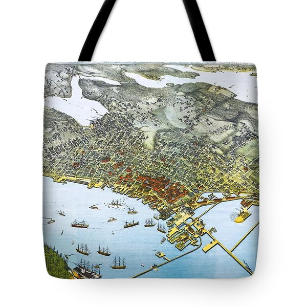 Antique 1891 Seattle Map Tote Bag by Dan Sproul
