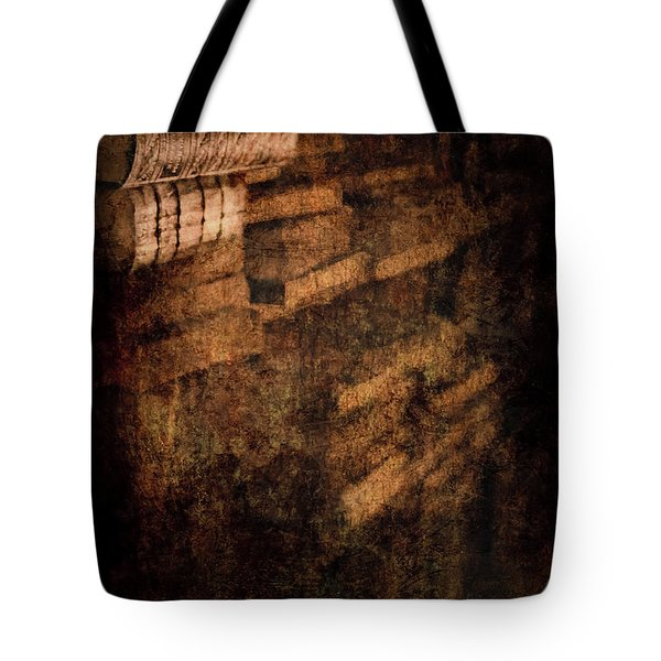 Antique Books On Dusty Book Shelves Tote Bag by Loriental Photography