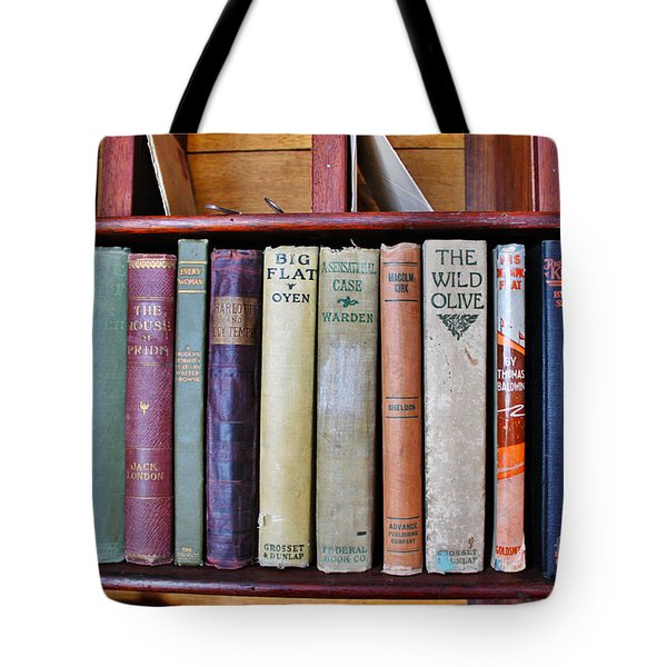 Antique Books On Shelf From 1860 Tote Bag by Janice Rae Pariza