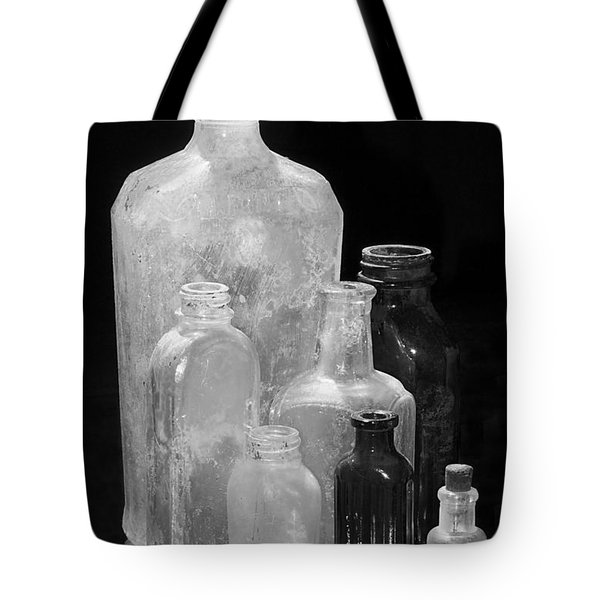 Antique Bottles 4 Black And White Tote Bag by Phyllis Denton