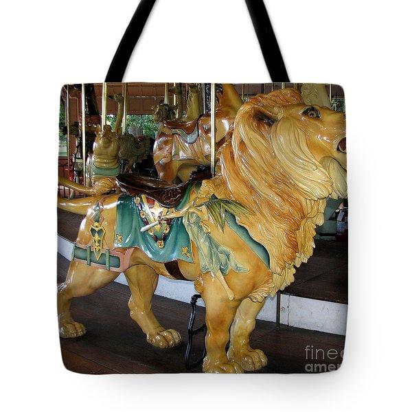 Antique Dentzel Menagerie Carousel Lion Tote Bag by Rose Santuci-Sofranko