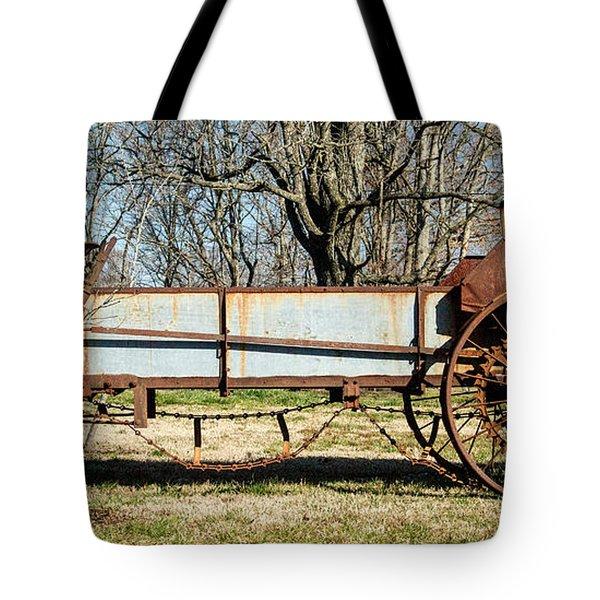 Antique Hay Bailer 2 Tote Bag by Douglas Barnett