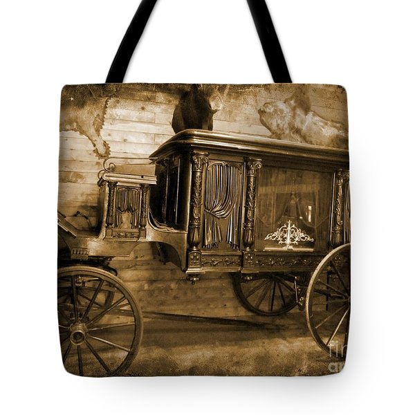 Antique Hearse as Tintype Tote Bag by Crystal Loppie