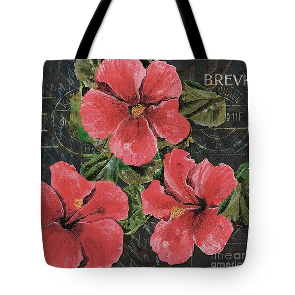 Antique Hibiscus Black 3 Tote Bag by Debbie DeWitt