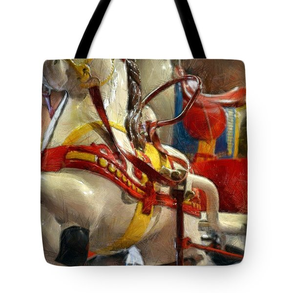 Antique Horse Cart Tote Bag by Michelle Calkins