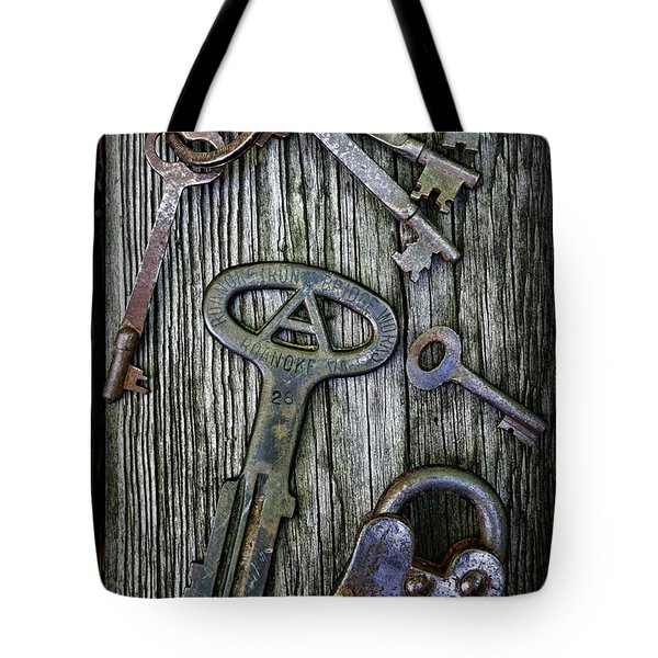 Antique Keys and Padlock Tote Bag by Paul Ward