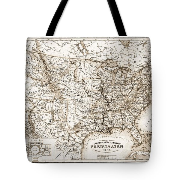 Antique Map 1853 United States Of America Tote Bag by Dan Sproul