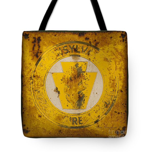 Antique Metal Pennsylvania Forest Fire Warden Sign Tote Bag by John Stephens
