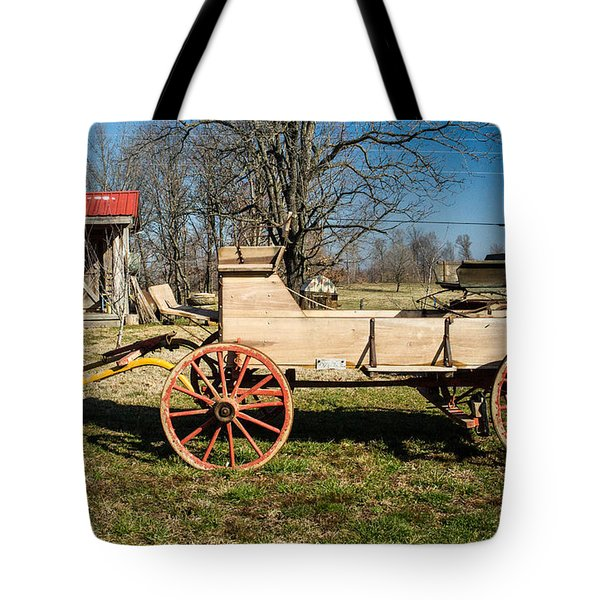 Antique Wagon and Mountain Cabin 1 Tote Bag by Douglas Barnett