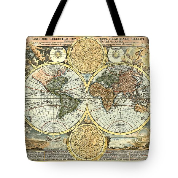 Antique World Mercator Map Tote Bag by Gary Grayson