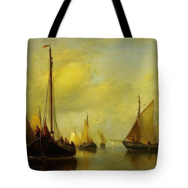 Antonie Waldorp Vissersboten Op Kalm Water Tote Bag by MotionAge Designs