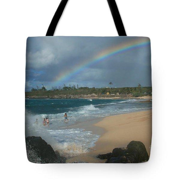 Anuenue - Aloha Mai E Hookipa Beach Maui Hawaii Tote Bag by Sharon Mau