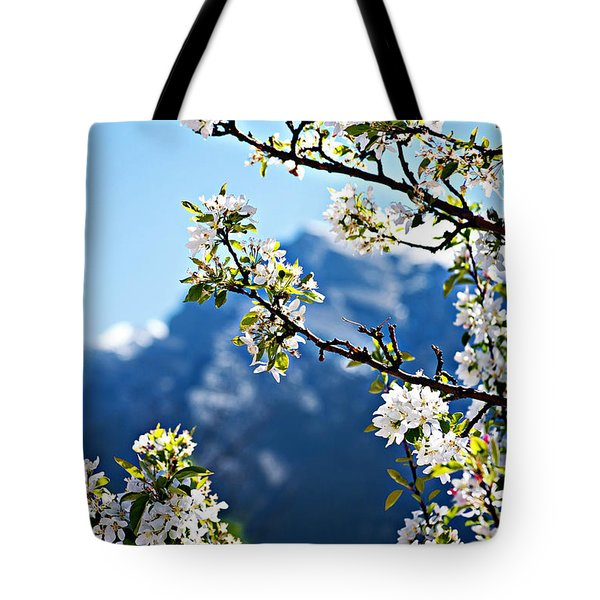 Apple Blossoms Frame The Rockies Tote Bag by Lisa Knechtel