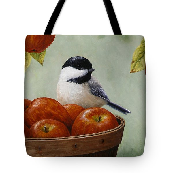 Apple Chickadee Greeting Card 1 Tote Bag by Crista Forest
