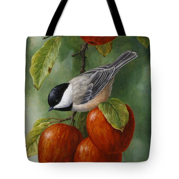 Apple Chickadee Greeting Card 3 Tote Bag by Crista Forest
