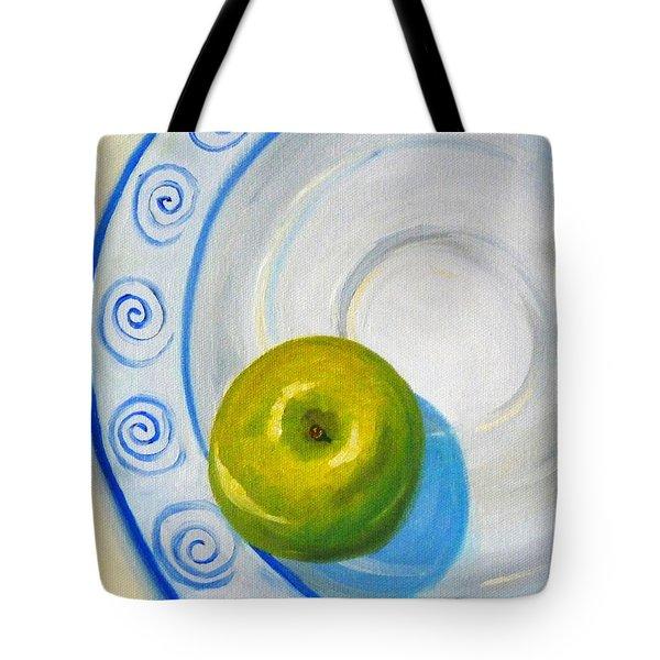 Apple Plate Tote Bag by Nancy Merkle