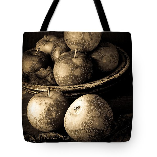 Apple Still Life Black And White Tote Bag by Edward Fielding