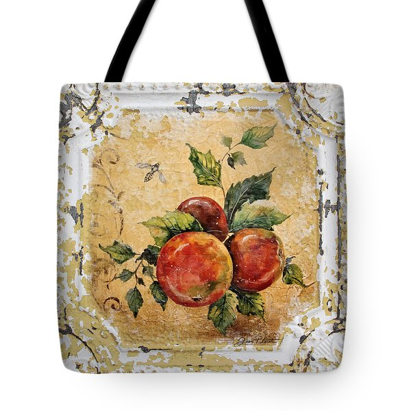 Apples And Bee On Vintage Tin Tote Bag by Jean Plout