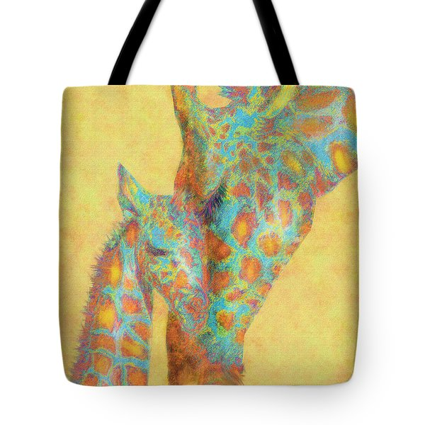 Aqua And Orange Giraffes Tote Bag by Jane Schnetlage