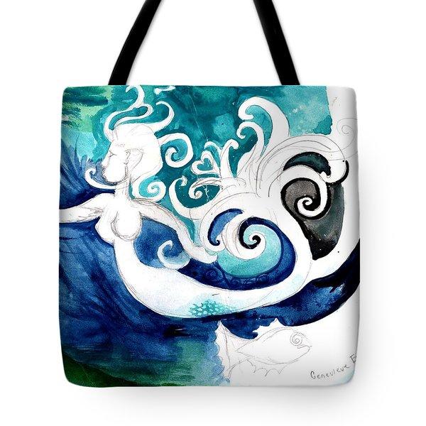 Aqua Mermaid Tote Bag by Genevieve Esson