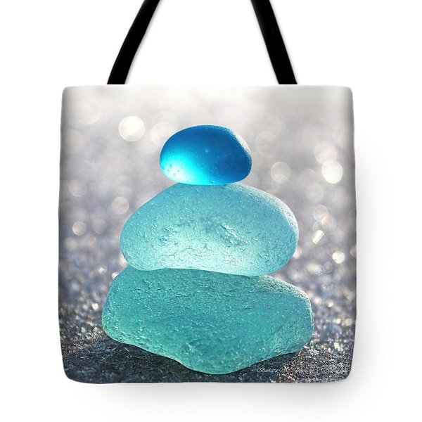 Aquamarine Ice Tote Bag by Barbara McMahon