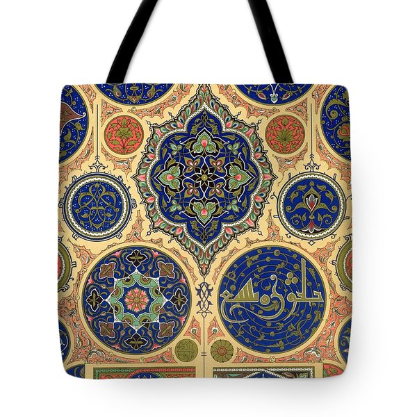 Arabian Decoration Plate Xxvii From Polychrome Ornament Tote Bag by Albert Charles August Racinet