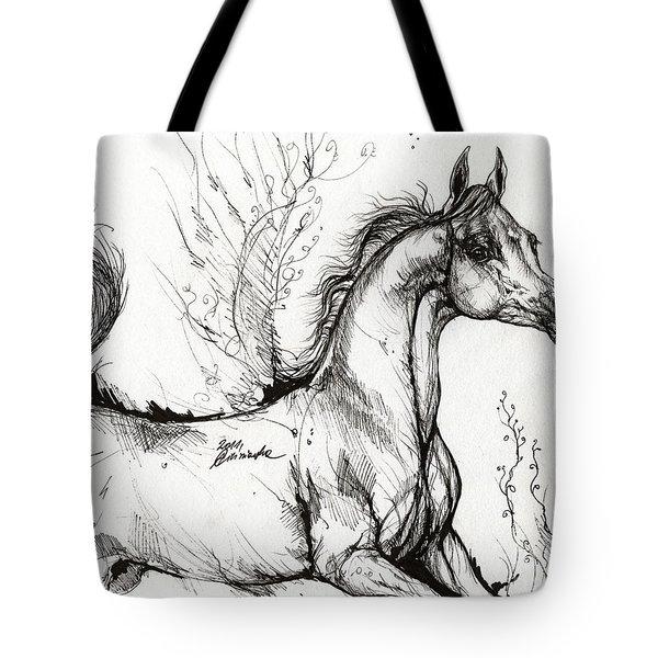 Arabian Horse Drawing 1 Tote Bag by Angel  Tarantella