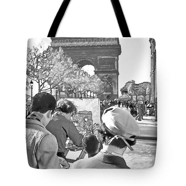 Arc de Triomphe Painter - B W Tote Bag by Chuck Staley