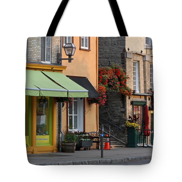Arch Of Flowers In Old Quebec City Tote Bag by Juergen Roth