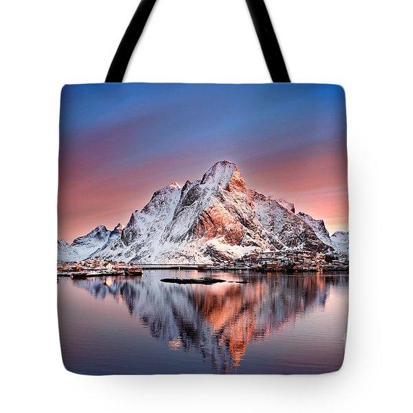 Arctic Dawn Over Reine Village Tote Bag by Janet Burdon