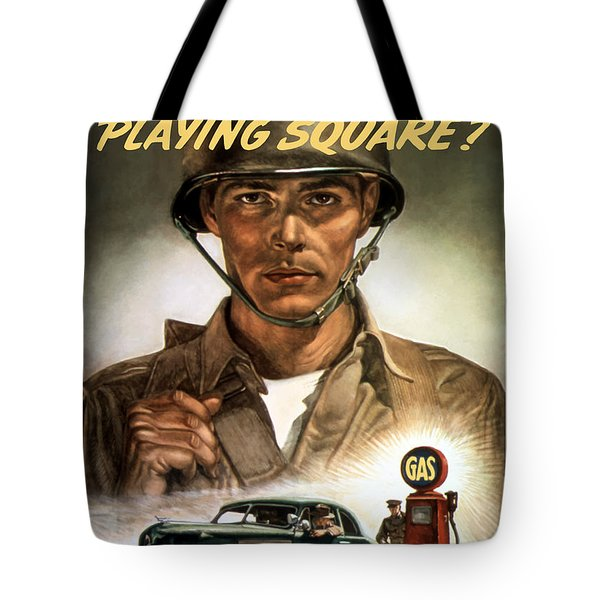 Are You Playing Square Tote Bag by War Is Hell Store