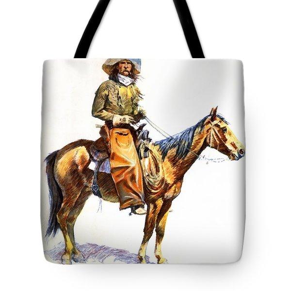Arizona Cowboy Tote Bag by Frederic Remington