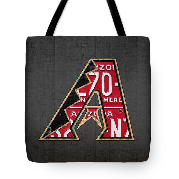 Arizona Diamondbacks Baseball Team Vintage Logo Recycled License Plate Art Tote Bag by Design Turnpike