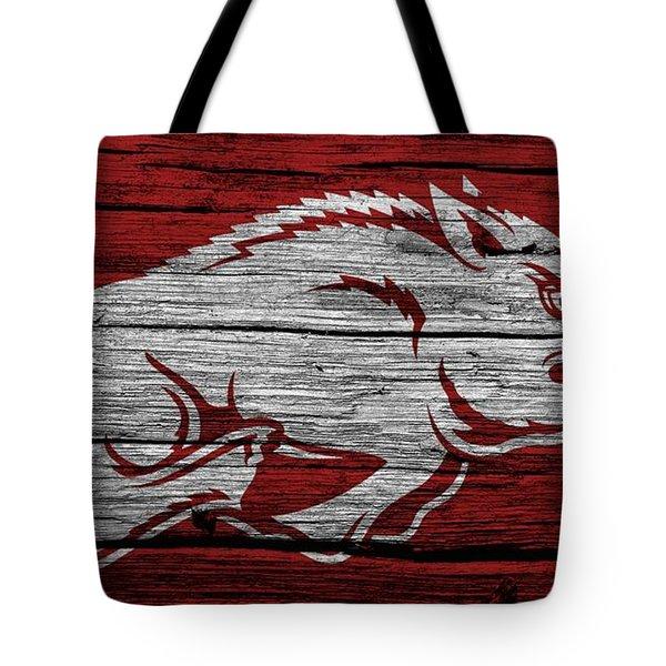 Arkansas Razorbacks On Wood Tote Bag by Dan Sproul