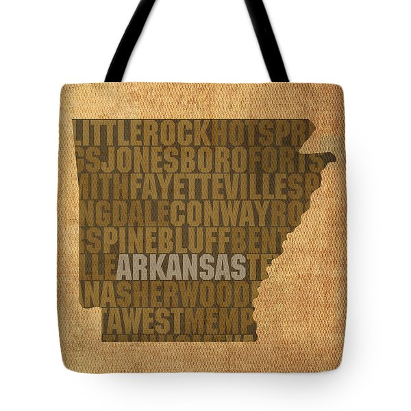 Arkansas Word Art State Map on Canvas Tote Bag by Design Turnpike