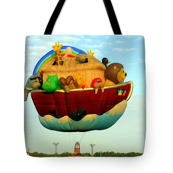 Arky Hot Air Balloon Tote Bag by Kathy  White