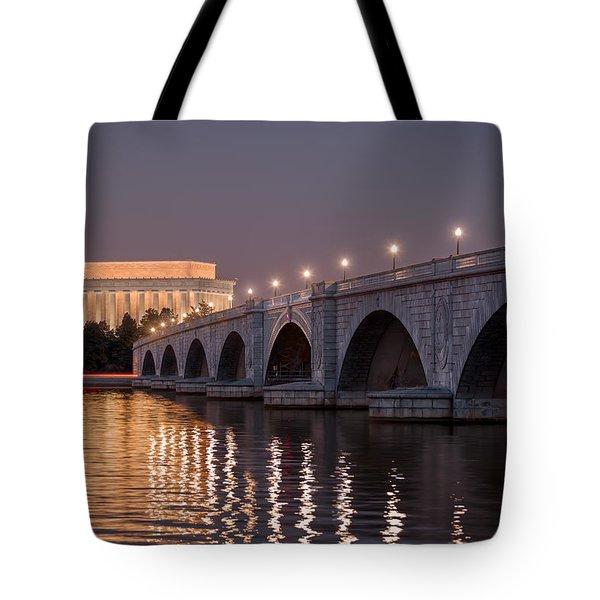 Arlington Memorial Bridge Tote Bag by Eduard Moldoveanu