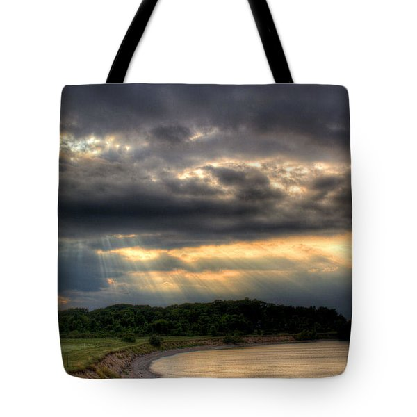Art For Crohn's Lake Ontario Sun Beams Tote Bag by Tim Buisman