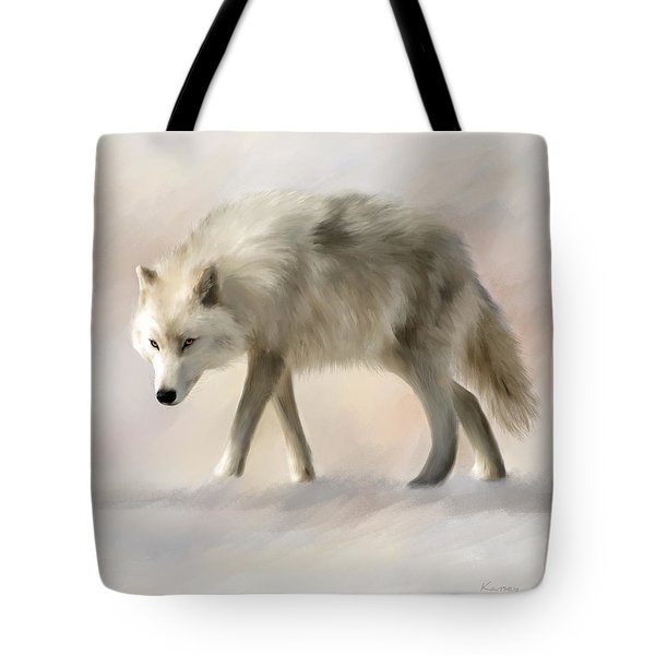 Arctic Wolf Tote Bag by Johanne Dauphinais