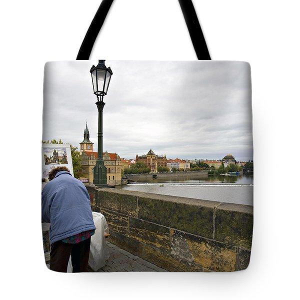 Artist on the Charles Bridge - Prague Tote Bag by Madeline Ellis