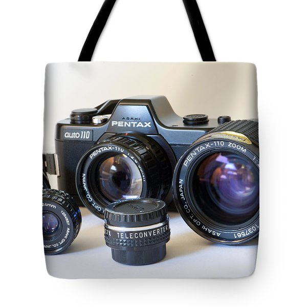 Asahi Pentax Auto 110 Mini Camera And Lenses Tote Bag by Melany Sarafis