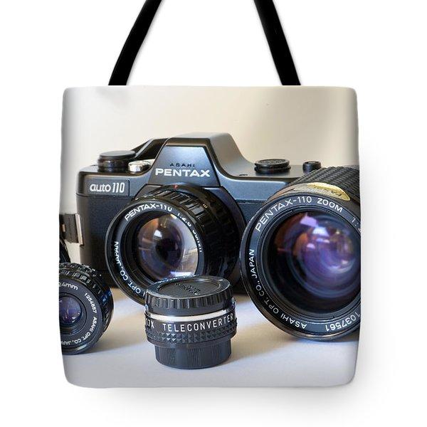Asahi Pentax Auto 110 Mini Camera and Lenses Tote Bag by Melany Sarafis