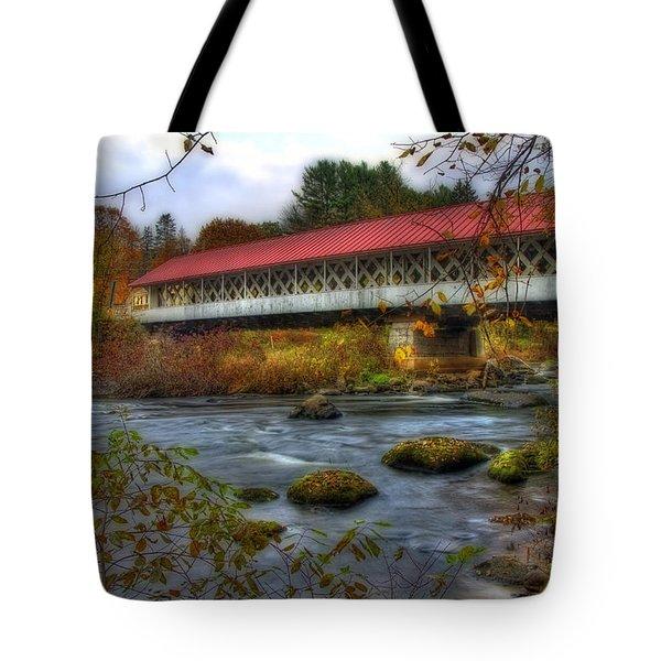 Ashuelot Covered Bridge 2 Tote Bag by Joann Vitali