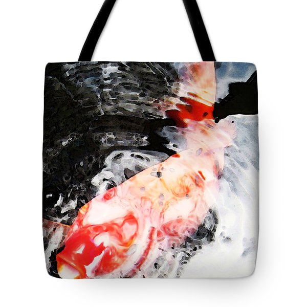 Asian Koi Fish - Black White And Red Tote Bag by Sharon Cummings