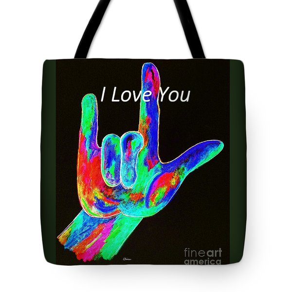 Asl I Love You On Black Tote Bag by Eloise Schneider
