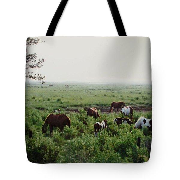 Assateague Herd 2 Tote Bag by Joann Renner