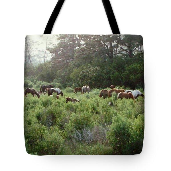 Assateague Herd Tote Bag by Joann Renner