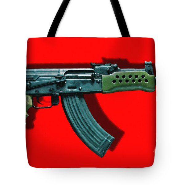 Assault Rifle Pop Art - 20130120 - v1 Tote Bag by Wingsdomain Art and Photography