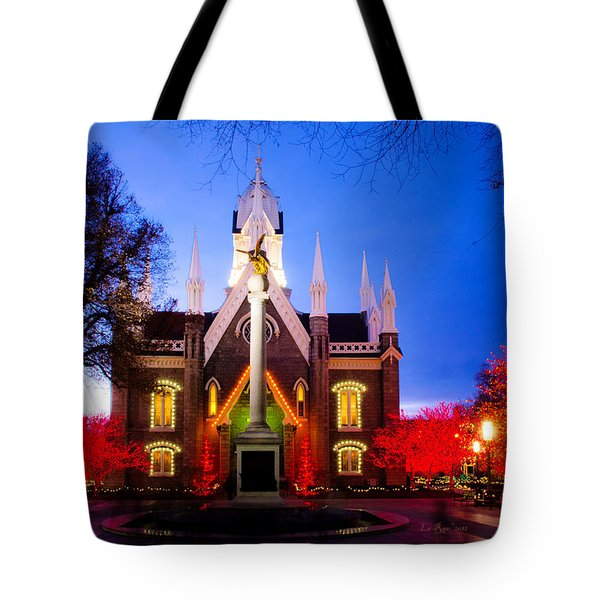 Assembly Hall Slc Temple Tote Bag by La Rae  Roberts