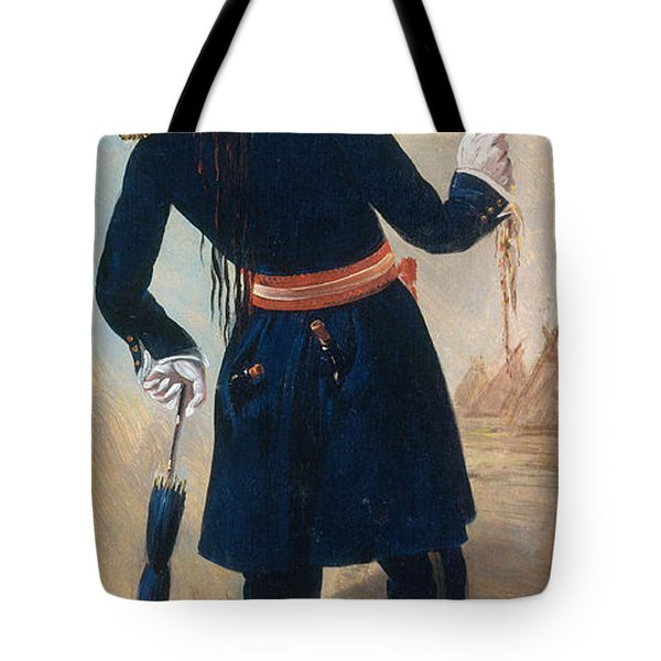 Assiniboine Warrior In Regimental Tote Bag by Photo Researchers